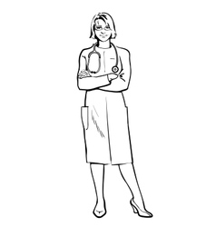 Female doctor standing with his arms crossed vector