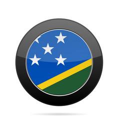 Flag of solomon islands shiny black round button vector