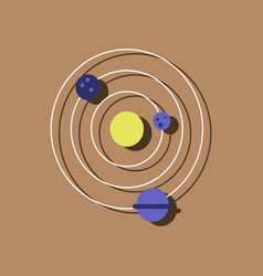 Flat icon design collection planets and the orbit vector