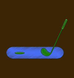 Flat shading style icon golf stick and hole vector