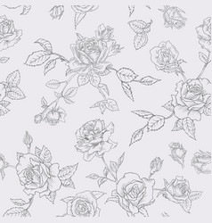 Floral seamless pattern with roses outline vector