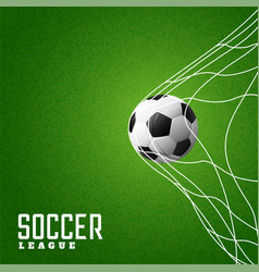 Football hitting goal net background vector