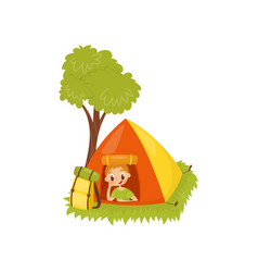 Funny kid resting in camping tent active summer vector