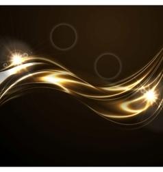 Golden liquid smooth waves on black background vector image