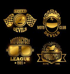 Golden motorbike and motorcycle sport labels vector