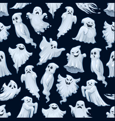 Halloween holiday cartoon ghost seamless pattern vector