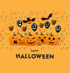 Halloween with pumpkins face poster party harvest vector
