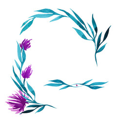 hand drawn watercolor flower wreath in vector image