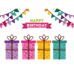 happy birthday to you celebration poster vector image