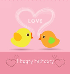 Happy birthday to you with two bird vector