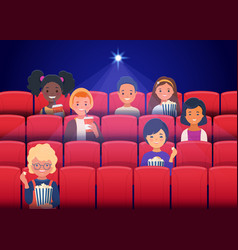 Happy children watching movies at cinema vector