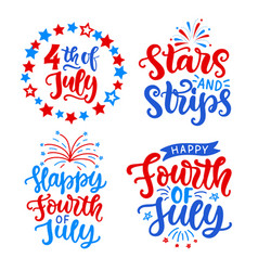 Happy fourth july hand written lettering set vector