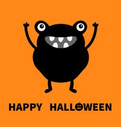 happy halloween monster black silhouette cute vector image