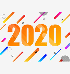 Happy new year 2020 with dynamic shapes vector