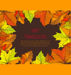 happy thanksgiving poster with text leaves vector image