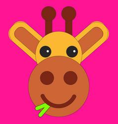 head of a giraffe in cartoon flat style vector image