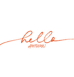 hello autumn ink brush pen lettering vector image