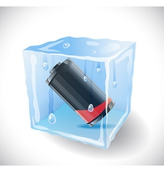 Ice cube with empty battery vector image