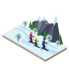 Isometric happy family skiing cross country vector