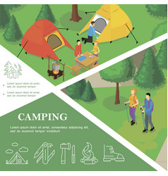 isometric outdoor recreation colorful template vector image