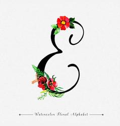Letter e watercolor floral background vector