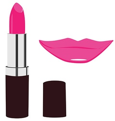 Lipstick and lips kiss vector image