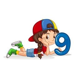 Little girl holding number nine vector