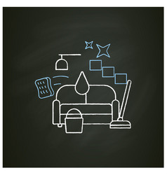 Living room cleaning chalk icon vector