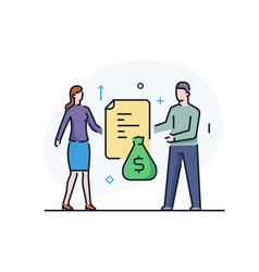 Man and woman have a sum money business vector