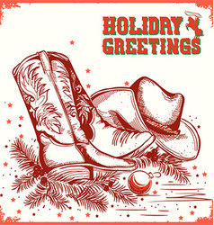 Merry christmas and New Year card with cowboy boot vector