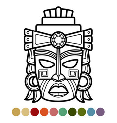 Mexican african aztec mask coloring page vector