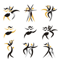 modern dancing expresiv stylized icons vector image