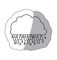 Monochrome contour sticker of cloud with rain vector