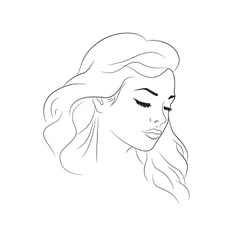 Nice woman outline portrait vector image