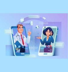 online consultation via smartphone doctor patient vector image