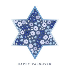 Pesach passover greeting card with blue jewish vector