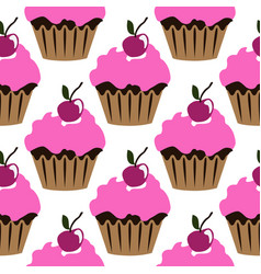 Pink cream cupcake with cherry seamless pattern vector