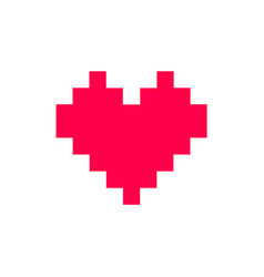 pixel red heart icon minimalism vector image