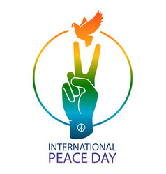 rainbow colors peace sign vector image