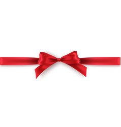 red bow and ribbon on white background realistic vector image