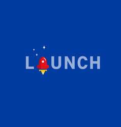 rocket launch typography text font logo vector image