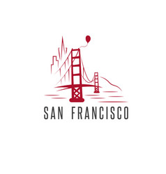 san francisco skylineballoon and golden gate vector image
