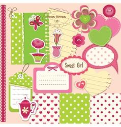Scrapbook baby girl set vector image