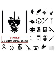 set of 24 fishing icons vector image