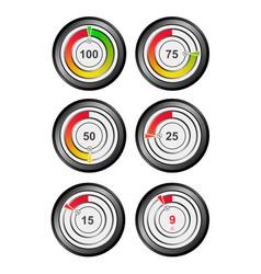 set of color indicators of percentage charts vector image
