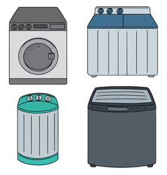 set of washing machine vector image