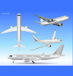 Set realistic airplane mock up or landing vector