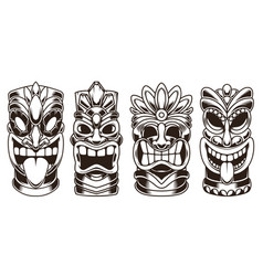 set tiki statues isolated on white background vector image