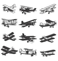 Set vintage airplanes icons aircraft design vector