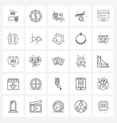 Simple set 25 line icons such as plane travel vector